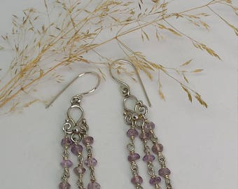 Hand Made Sterling Silver Amethyst Bead Earrings