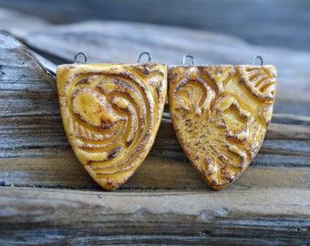 Tooled Leather- Handmade Porcelain Bead Pair