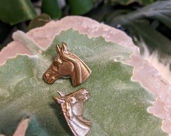 Vintage Brass Horse Earrings