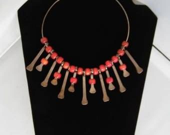Horseshoe Nails & Wooden Beaded Choker Necklace, Industrial Bib Necklace, Southwestern