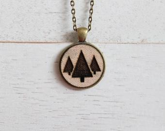 Evergreen Necklace - Tree Silhouette Pendant - Fabric Necklace - Wood Pendant Necklace - Laser Engraved Necklace - Laser Engraved Wood