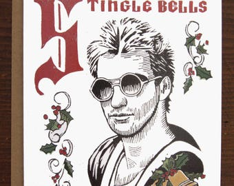 Stingle Bells/The Police/Holiday Card/Merry Christmas/Linocut