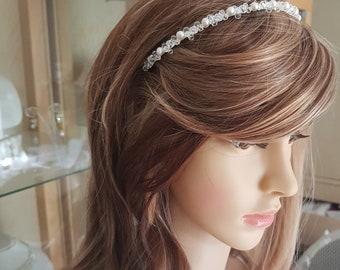 Swarovski Crystal bridal headband Freshwater pearl and clear crystal wedding head band crystal tiara AB Swarovski Crystal hairband tiara