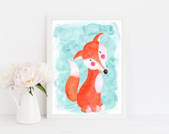 "Watercolor Fox, wall art quote, kids room, nursery wall art,  quote print, quote art, inspirational quote, Typography, Quote, ""Print"""