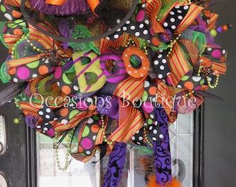 Wicked Witch Halloween Wreath, Halloween Wreath, Deco Mesh Wreath, Halloween Decoration, Pre-Order