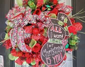Christmas Wreath, Whimsical Christmas Wreath, Holiday Wreath, Snowman Decor, Front door Wreath, Door Hanger, Wreath for door
