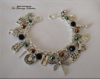 Outlander Beautiful light black and brown fraser colors bracelet, Inspired Series, Book Series, Diana Gabaldon, Inspired Jewelry Outlander