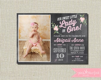 Little Lady Invitation, Chalkboard First Birthday Invitation, First Birthday Invitation, 1st Birthday Invitation, Little Lady Birthday