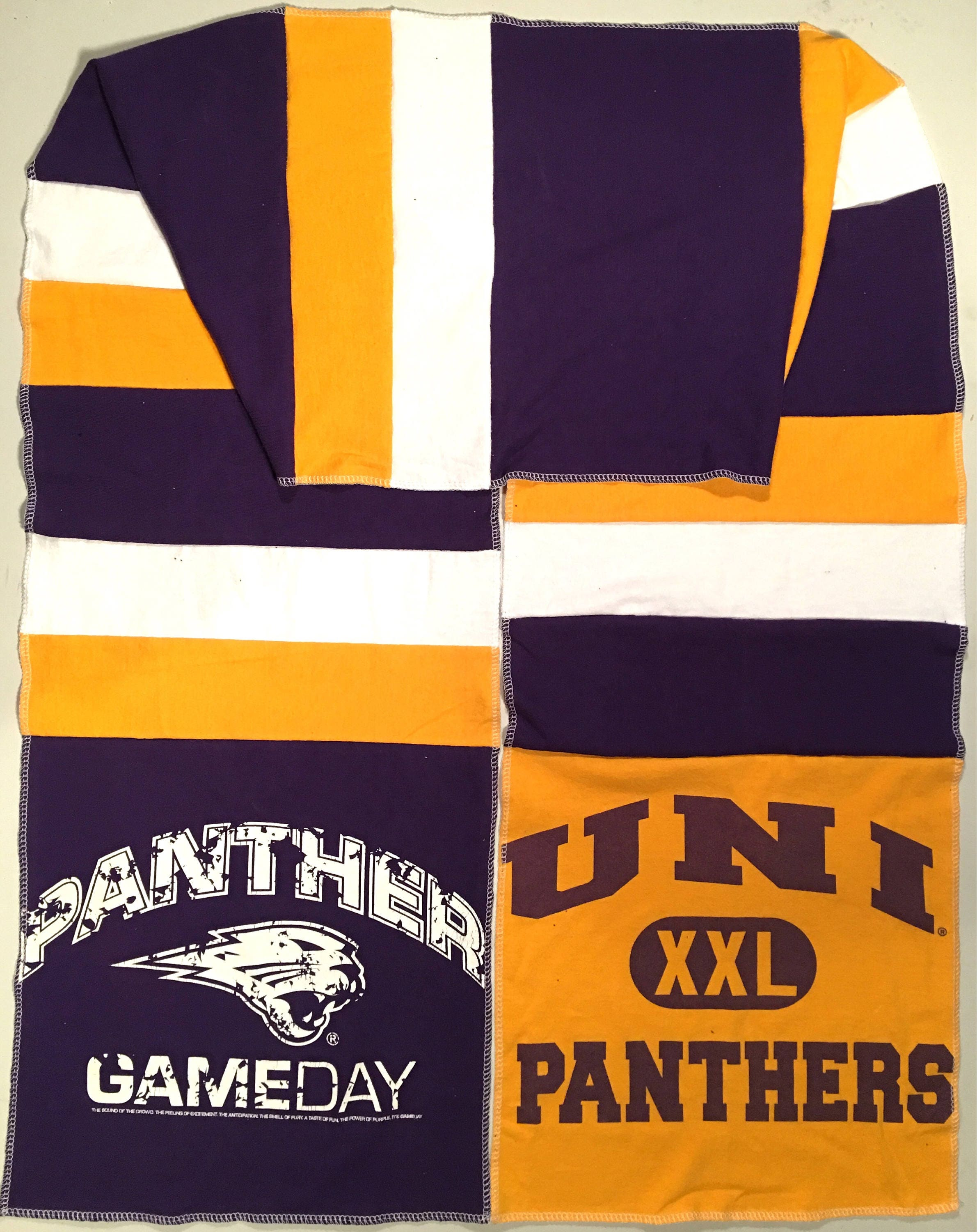 Long Scarf UNI University of NORTHERN IOWA Panthers Team Spirit Upcycled Men's Woman's Unisex T-Shirt New Handmade Scarves