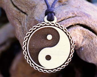 """Yin Yang """"Rope"""" Pendant Necklace - Laser Cut Homeade Engraved Women's Jewelry Gifts"""