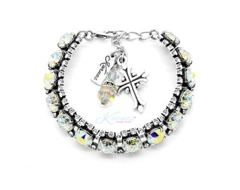 FULL OF WHIMSY 8mm Halo Charm Bracelet Made With Genuine Swarovski Crystal *Choose Your Finish *Karnas Design Studio™ *Free Shipping*