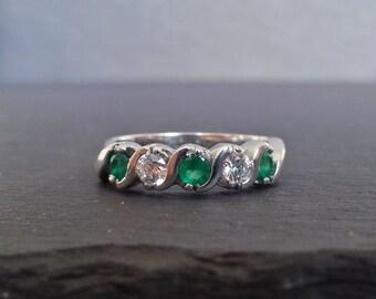 Emerald & Diamond Wedding Band