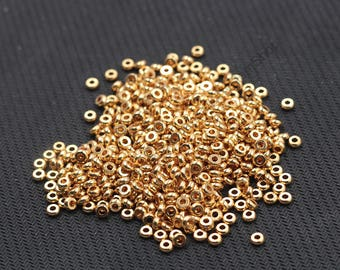 3mm Gold Plated Chunky Beads For Jewelry Making Craft Supplies Wholesale Charms CQA-076