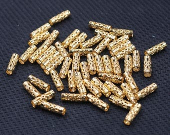 10 Pcs Gold Plated Hollow-carved Tube Beads , 12.5x4mm , For Jewelry Making Craft Supplies Wholesale Charms YHA-293-7563