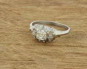 1920s Asscher cut diamond ring .74ct Platinum