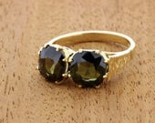 18K Yellow Smokey Tourmaline Duo Ring