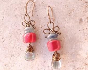 Bronze earrings-stone coral, agate
