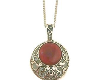 Red Pendant Necklace, Carnelian Pendant, Big Pendant Necklace, Red Gemstone Pendant, Red Stone Pendant Necklace, Red Chain Pendant Necklace