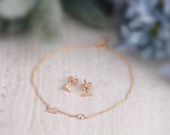 3.3x5.5MM Petite Whimsical Cloud Earring and Bracelet Set | Solid 14K Gold | Fine Jewelry | Free Shipping