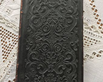 """Antique tooled leather book """"The Lord's Supper"""" printed in 1856 in England."""