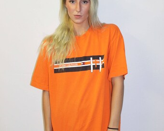 SALE – 1990's Tommy Hilfiger Orange Tee Shirt  / Vintage Hilfiger Spell Out T Shirt Hip Hop Retro Throwback 80s 90s Clothing FREE SHIPPING