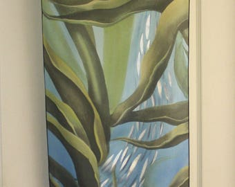 Monterey Kelp painting printed on Silk Habotai scarf