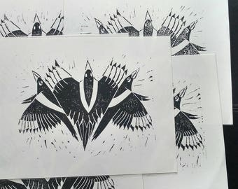 Magpies - Hand Pulled Linocut Relief Print