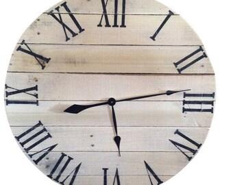 natural clock unpainted rustic clock farmhouse clock wood clock reclaimed wood clock