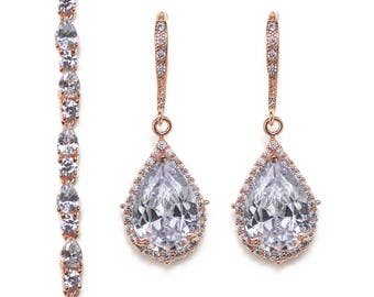 Wedding Jewelry Set, Bracelet and Earring set, Bridal Jewelry, Bridal Accessories Silver Wedding Jewelry B222+E055