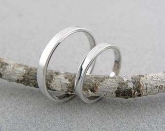 Gold wedding bands set-14k solid white gold-2 mm x 1.5 mm - Shinny finish.
