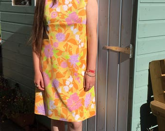 Fab Psychedelic Floral 1960s Summer Dress- Hot pinks and oranges, multi colours - Custom made-GC. Approx Size 14