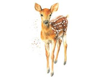 deer print, woodland nursery, woodland animals, deer art, woodland print, forest animal print, nursery art, deer painting, nursery print,
