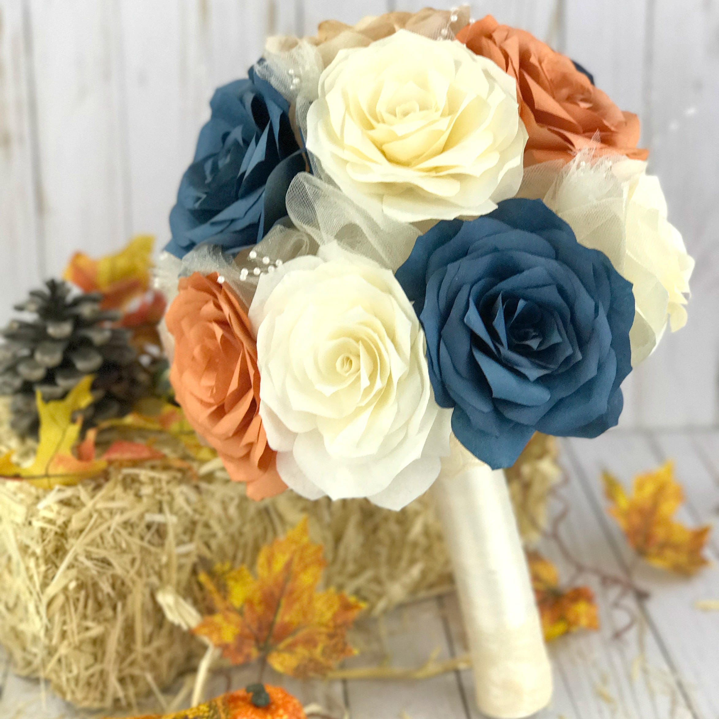 Bouquets In Burnt Orange Navy Blue And Gold 3 Sizes To