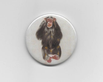 Monkey mirror Hear no Evil pocket size 58mm compact makeup cosmetic gift idea party favor