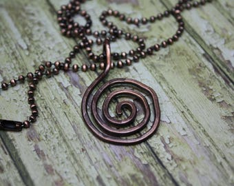 Copper jewelry, copper necklace, pure copper necklace spiral, hammered copper
