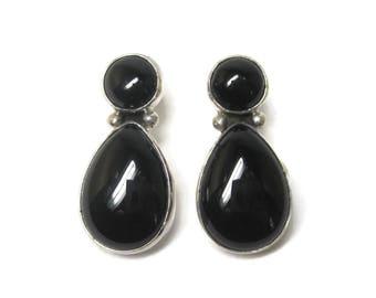 Vintage Sterling Onyx Earrings Southwestern