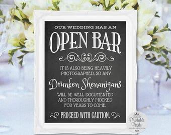 Open Bar Printable Wedding Sign, Chalkboard Style, Funny Bar Sign (#OP12C)
