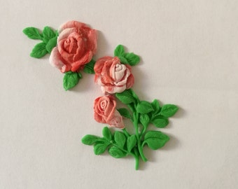 6 Gorgeous edible fondant roses branch. Cakes cupcakes cookies cakepops toppers and decoration