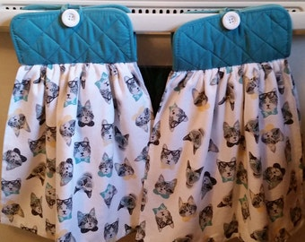 Cats Kitchen Towel Set, Cat Lovers, Cats With Glasses, Cat Kitchen Decor,