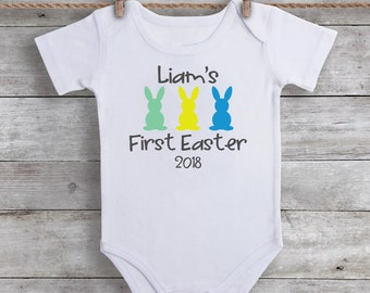 First Easter Outfit Baby Boy Easter Bodysuit - My First Easter Shirt - Personalized Baby Boy Clothing - First Easter Tee