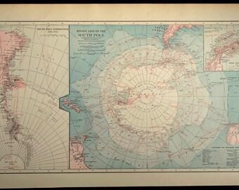 South Pole Map LARGE Antarctica South Pole Antique Expedition