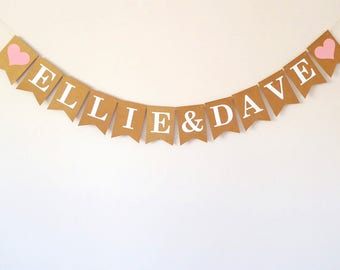 Custom name bunting, wedding name bunting, engagement, anniversary decoration