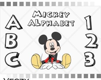 Mickey Mouse SVG alphabet, Mickey Mouse svg files, svg files for cricut, cricut downloads, cricut fonts, cricut svg, cricut files.