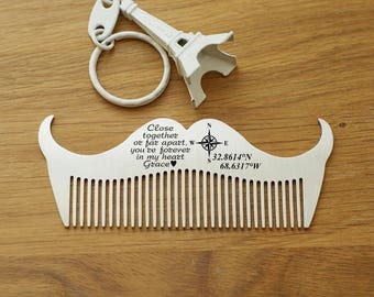 Personalized men's gift,  Custom Beard Comb, High Quality stainless steel Beard Comb, Personalized stainless steel Beard Comb, Gift for him