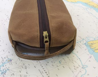 Dopp Kit: Waxed Canvas and Leather
