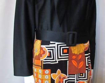 1970 Lounge Dress Dynasty Label British Crown Colony Made in Hong Kong Black Silky Knit Velveteen Patchwork Orange Brown Long Dress Size 16