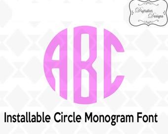 monogram font, circle monogram font, monogram letters, monogram alphabet, svg, type font, silhouette, vector, cricut cut files