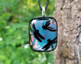 Fused Glass Dragonfly Pendant
