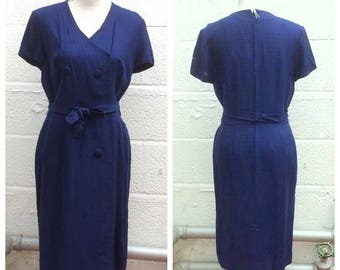 "1960's ""Peter Barron - London"" Classic Navy Blue Wiggle Dress - Mad Men - Size L"