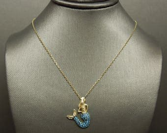 """Vintage Estate C1980 925 Gold over Sterling Silver Turquoise Blue Agate Mermaid Charm Necklace 14"""" - 17"""""""